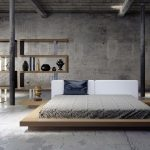 Wooden Low Profile Platform Bed Frame With Sontemporary Style And Cool Shelves