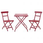 Wooden Red Ikea Bistro Set