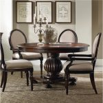 Wooden Round Dining Table Set With Leaf And Four Chairs