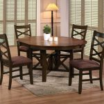 Wooden Round Dining Table Set With Leaf And Four Chairs Plus Fur Rug