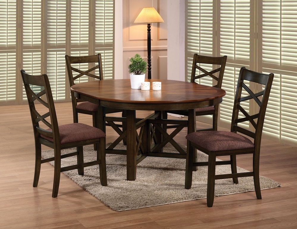 Wooden Dining Set ~ Round dining table set with leaf homesfeed