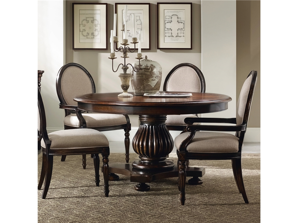 Round dining table set with leaf homesfeed for Round wood dining room table