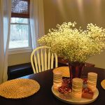 Wooden Round Table With Centerpieces For Dining Room Tables Design Style And White Chairs