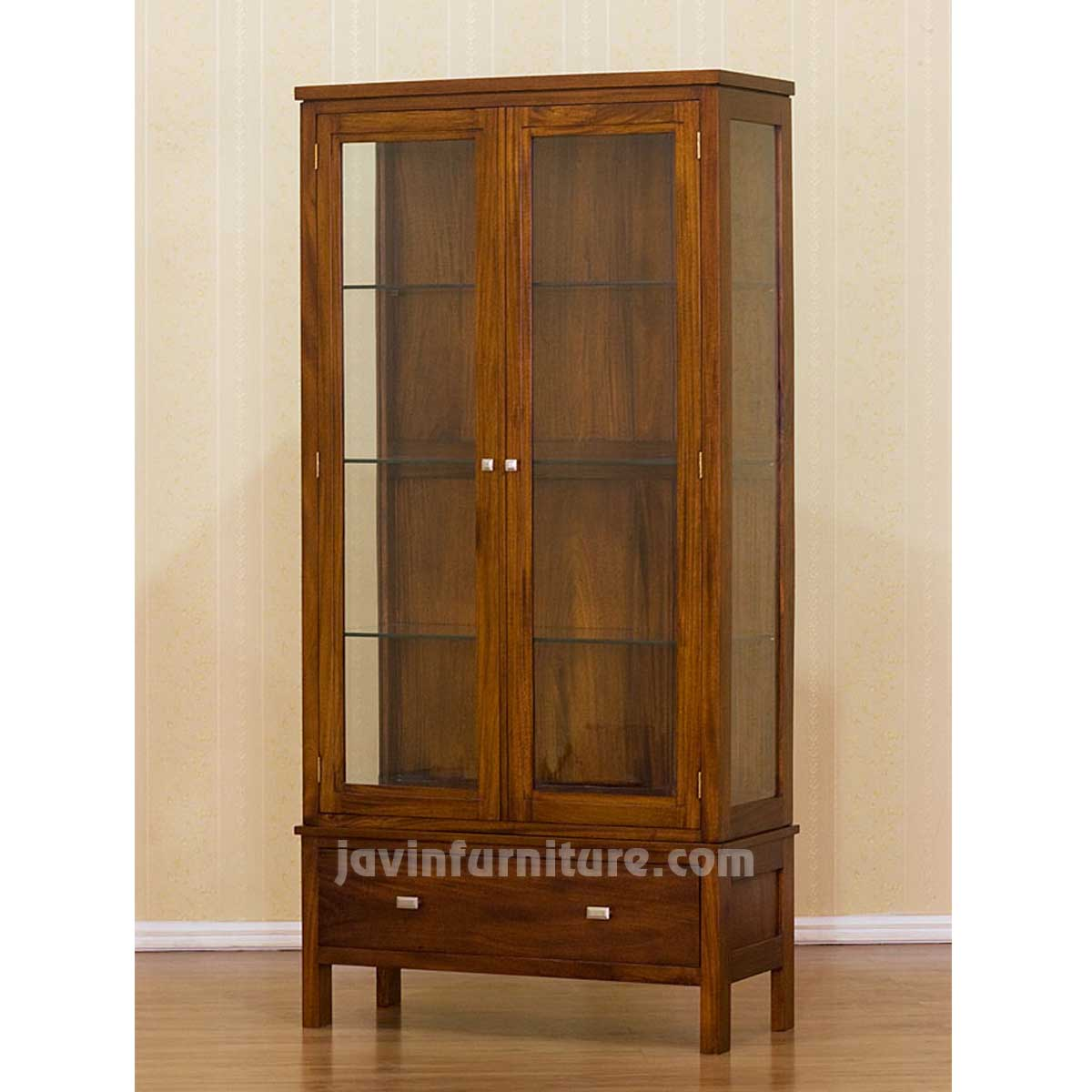 Wooden Slim Storage Cabinet With Glass Doors