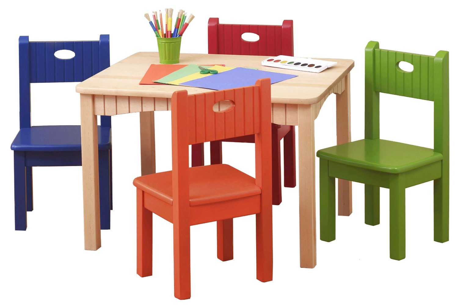 Ordinaire Wooden Pink Table And Colorful Chairs For Kids