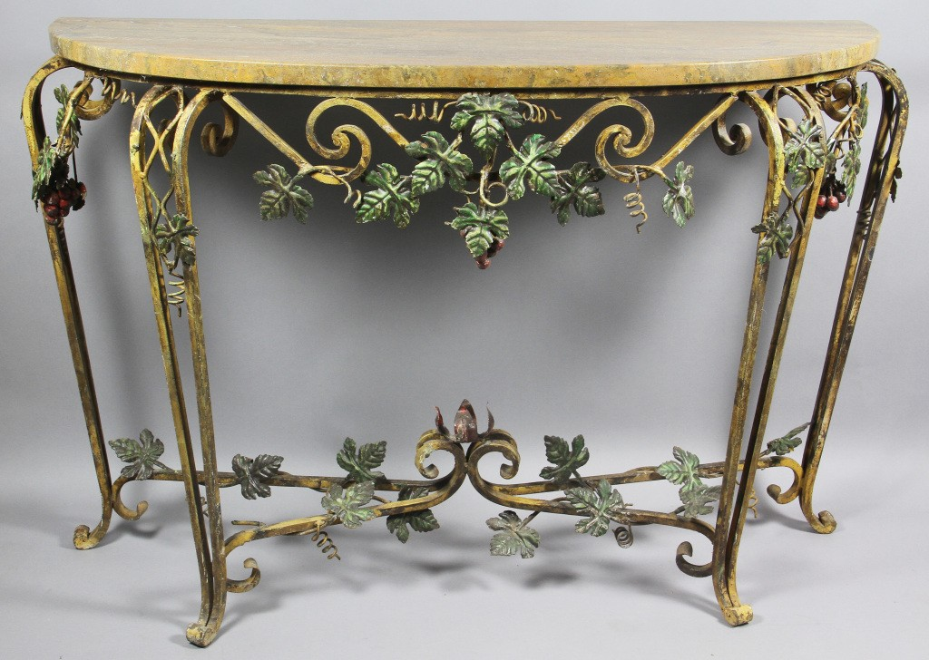 Wrought Iron Sofa Table With Green Leaves Design And Gold Color