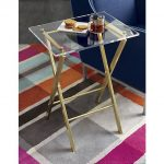 X base acrylic side table with clear glass top