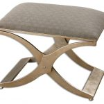 X shaped metal base bench with grey upholstery