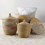 Yellow And Cream Color Of Senegalese Storage Baskets With Pillow