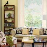 Yellow Painted Living Room Colour Schemes With Modern Furniture And Decorative Pillows