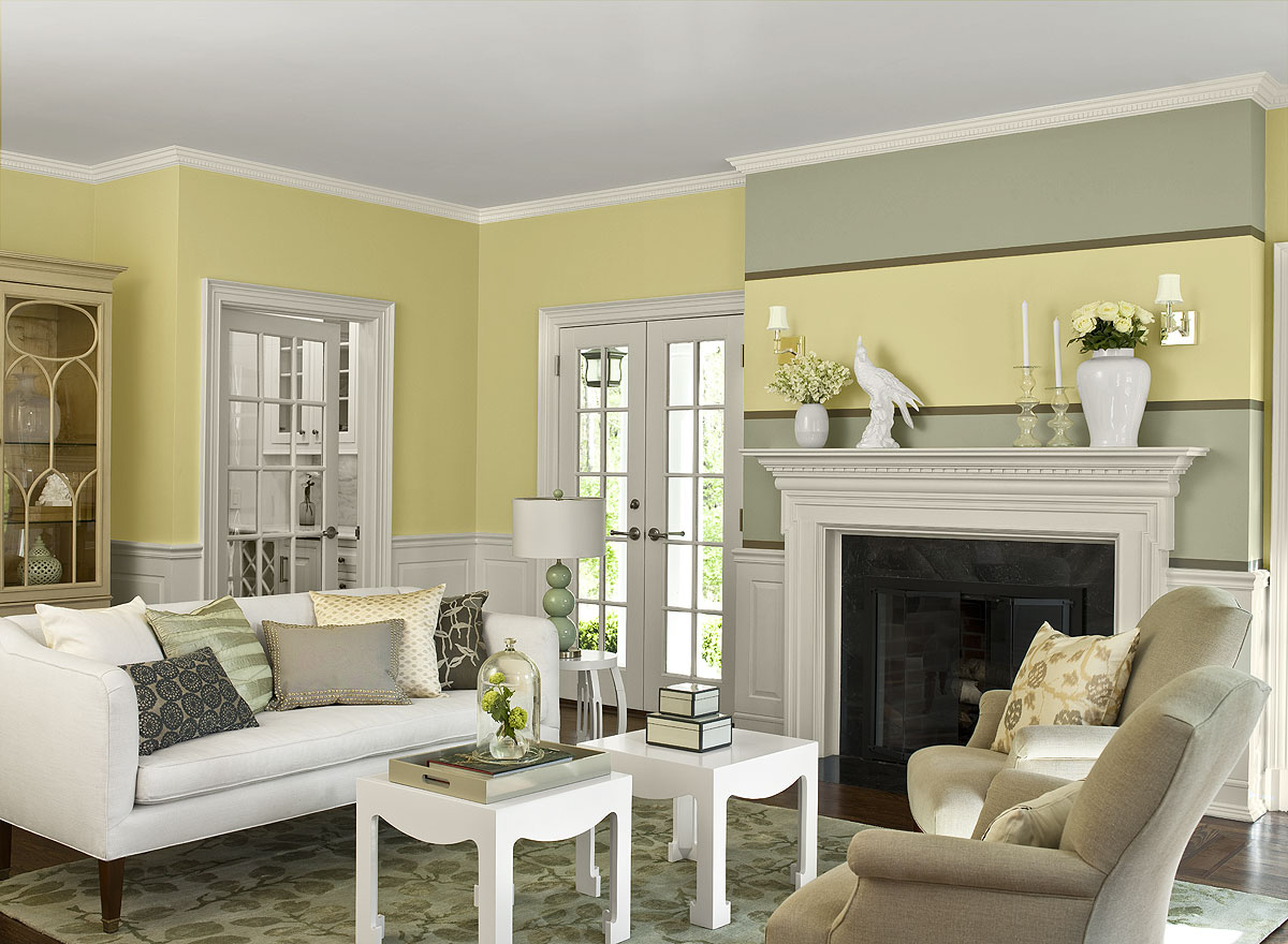 Yellow Painted Living Room Colour Schemes With White Fireplace And Furniture