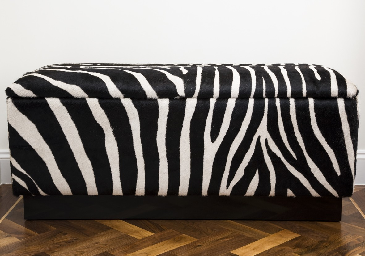 Zebra print bench idea with under storage - Complete Your Safari-Themed Home Decor With Animal Print Bench
