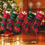 a-charming-and-creative-way-with-personalized-christmas-stocking-holder-stand-wrought-iron-with-five-stands-and-personal-photos-in-each-stand