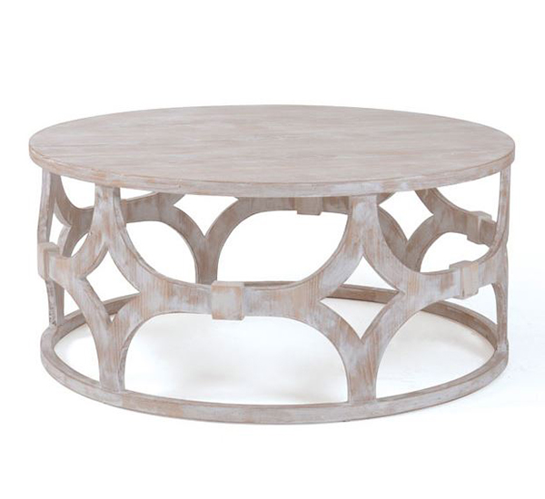 Elegant Coffee Tables with Whitewash Finish HomesFeed : a geometric inspired coffee table of the breezy round coffee table adds charm and elegance also fits for a cottage inspired room and beach styled decor from homesfeed.com size 600 x 550 jpeg 110kB