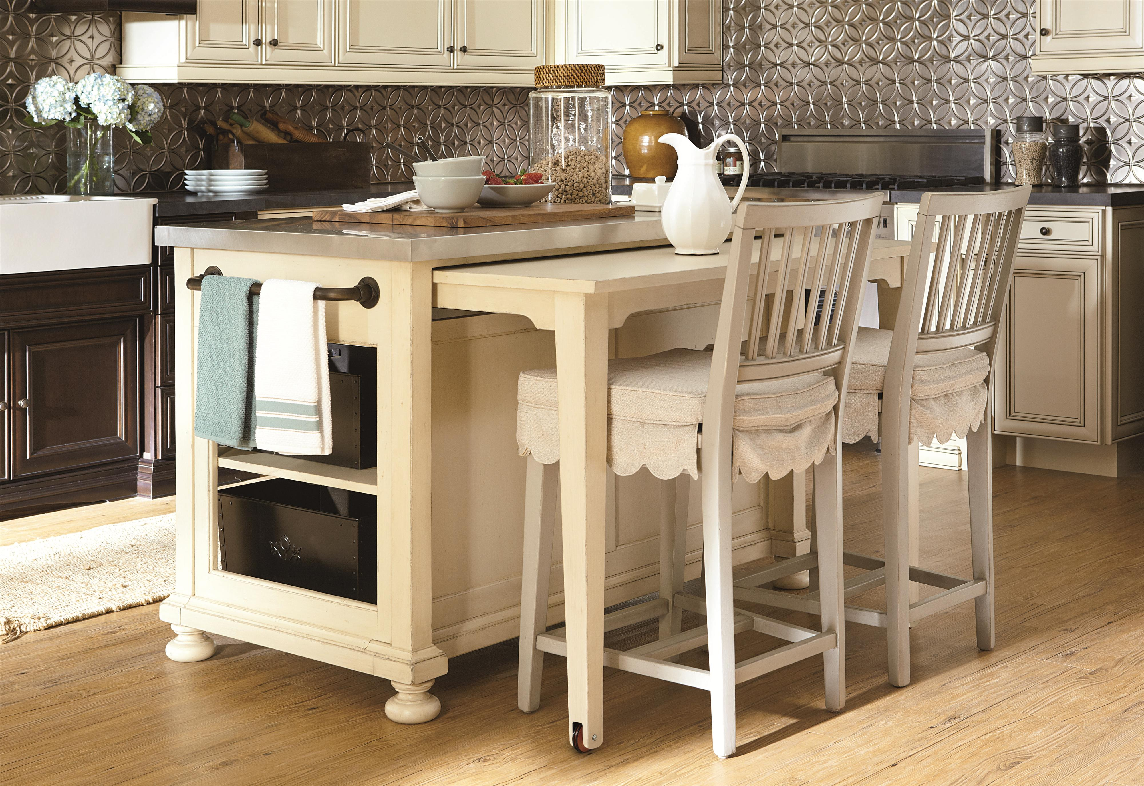 A Kitchen Island With Pull Out Table From