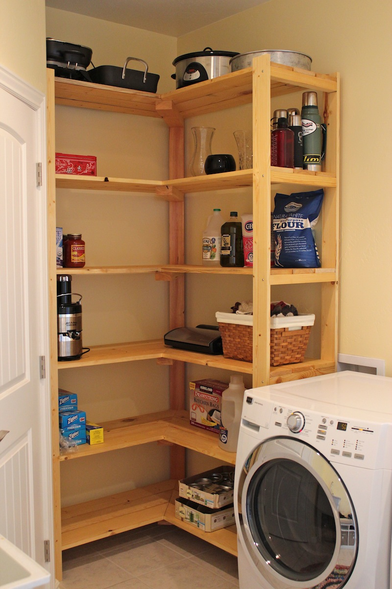 Admirable Laundry Room Shelf Ideas With Wooden Racks In Light Brown Finishing Together Cute Basket