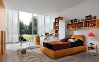 adorable bedroom design with open plan and yellow bedding and yellow built in bookshelves and area rug