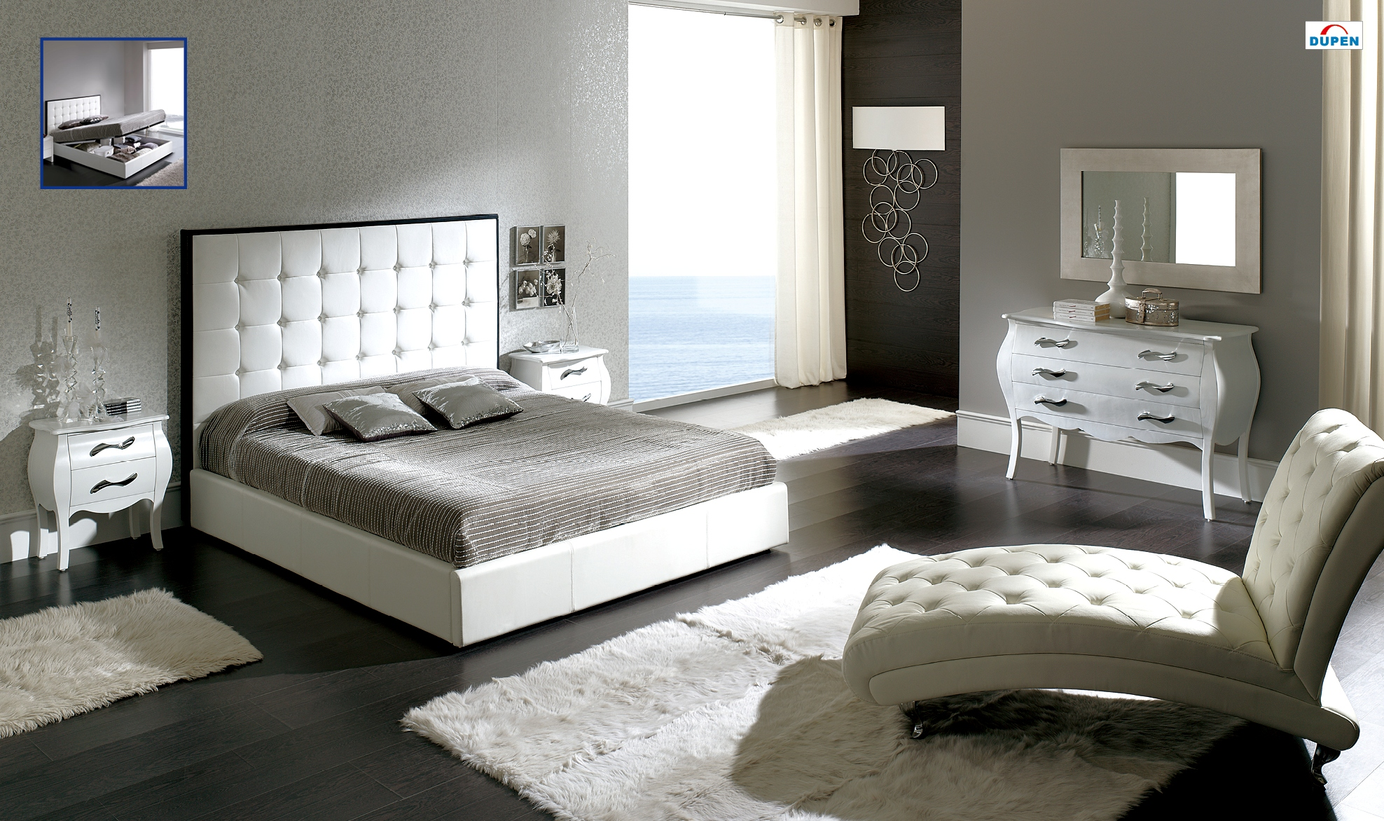 Adorable Bedroom Design With Uphostered Headboard And White Furry Area Rug  And Comfy Chair For Bedroom