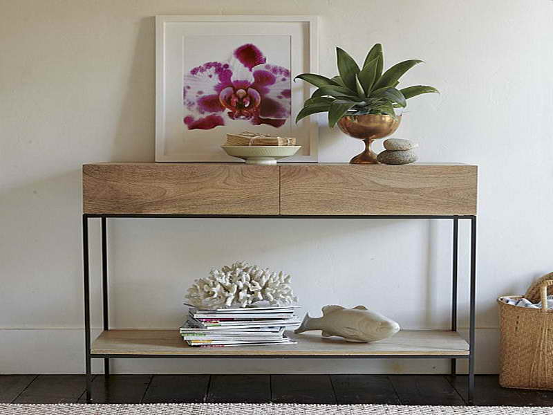 Adorable Beige Console Table Ikea Design With Black Iron Legs And Potted  Plants And White Painted