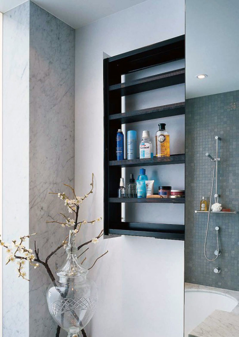 Adorable Black Bathroom Wall Shelves Design In Recessed Style In Bathroom  With Concrete Rustic Siding And