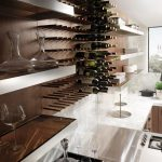adorable interior design with kitchen cabinetry and long and wide wall rack with wine storage and large glass window