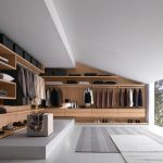 adorable interior design with modern walk in wardrobe design with glas window and wall wooden storage and open plan