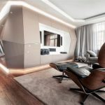 adorable luxurious apartment interior with brown leather interior and area rug and tv console on the wall and glass window and wooden