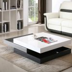 adorable minimalist cool coffee table idea in black gray and white color combination in the living room with white sofa