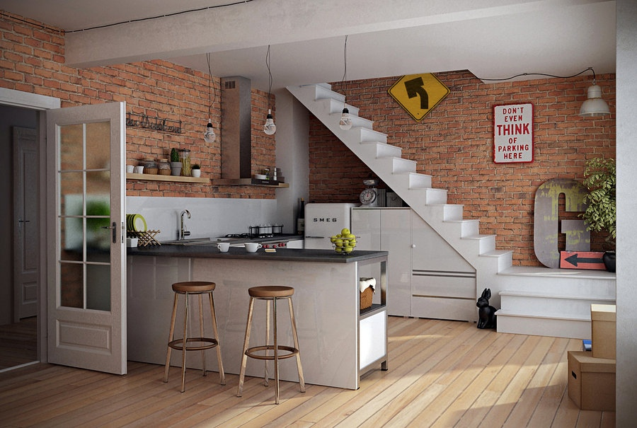 Adorable Modern White Kitchen Design With Open Plan And Brick Wall Accent  And White Staircase And