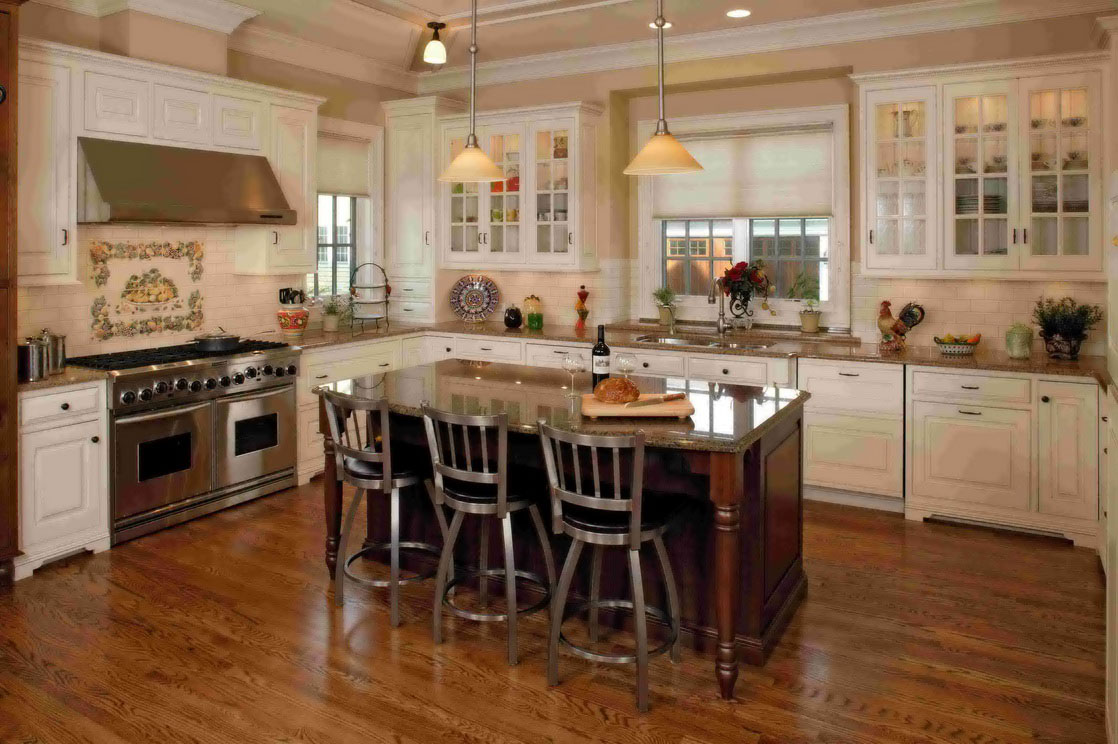 Adorable Natural And White Small Kitchen Design With Wooden Floor And Wooden Island With Marble Countertop