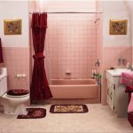 Adorable Pink White Bathroom Idea With Red Curtain And White Tub And Rugs And Creamy Floor