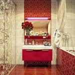 adorable red bathroom  color trend with floating minimalist vanity idea and tile flooring and painted mirror