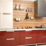 Glossy Red Kitchen Cabinet Glass Floating Shelves Italian Kitchen Design