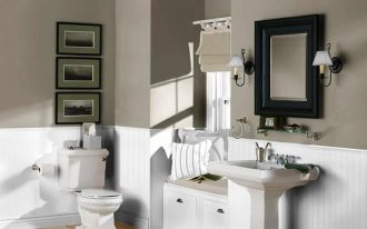 adorable white gray bathroom color trend idea with freestanding vanity and wall frame target