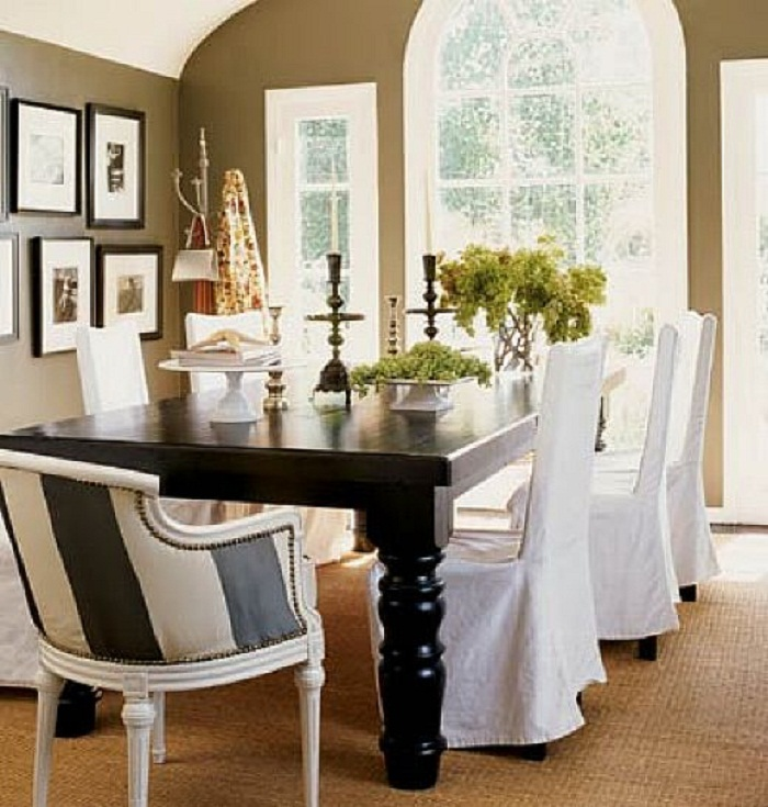 Adorable White Slip Cover For Dining Room Chairs Design With Long Sleeve Around Black Table