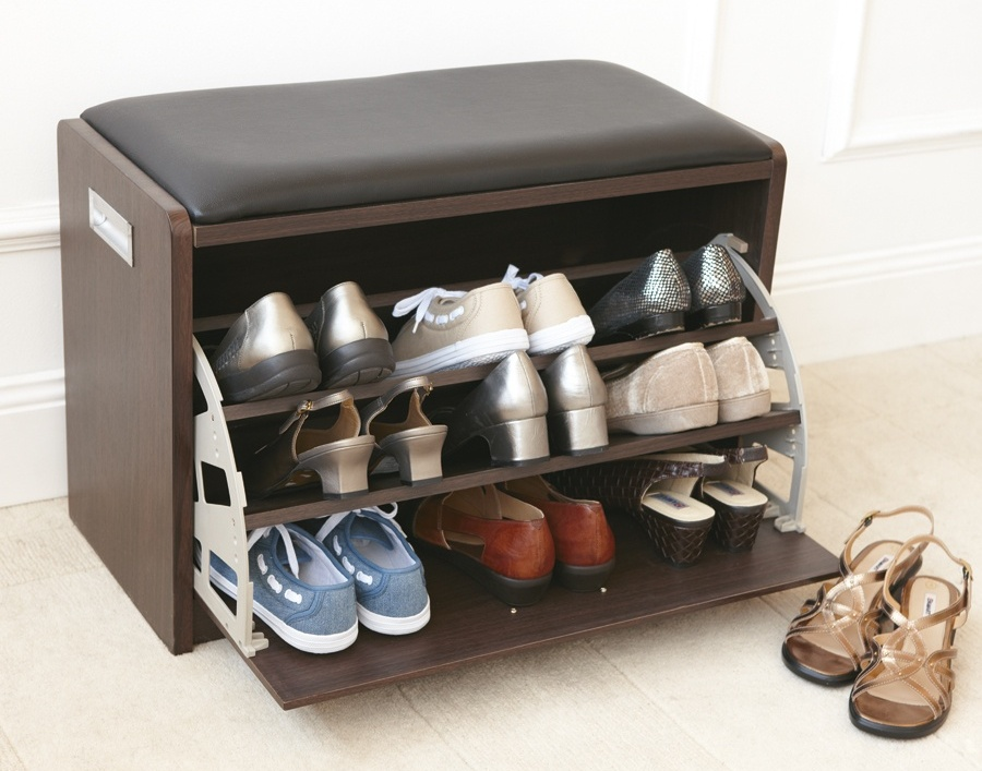 Shoe storage in the entry stylish shelving idea homesfeed Stylish shoe rack