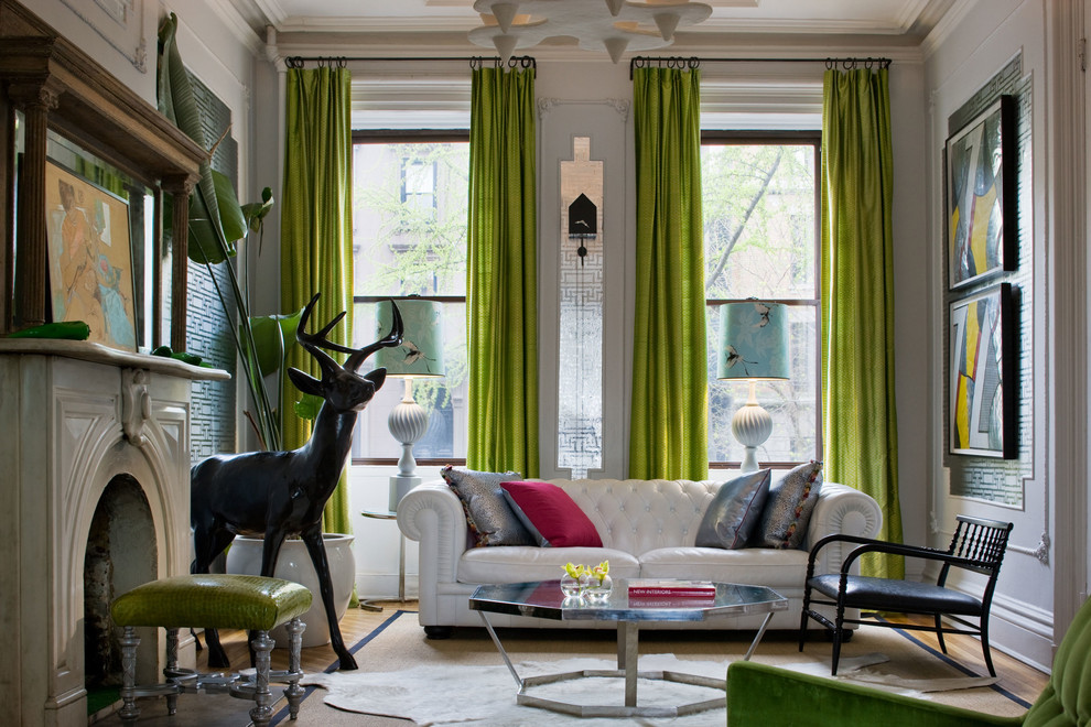 Amazing Extra Long Curtain Rods In Green Scheme Plus White Tufted Leather  Sofa In Ecletic Living Part 43