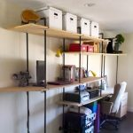 amazing freestanding black iron pipe shelves diy design with tan wooden slot and desk and purple area rug