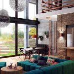 amazing interior design of loft with floor to ceiling glass window and brick wall  accent and double height ceiling with green sofa idea