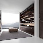amazing interior design with walk in wardrobe idea with stunning natural view with wooden storage and single pouff