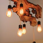 Amazing Pendant Chandelier With  Wooden Light Fixture Design Hanging On The Ceiling With Adorable Bulbs