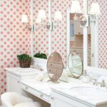 amazing shabby chic vanity idea with storage and wall mirror and pink painted wall and white small chair