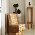 amazing tan wooden chair design with no armrest aside wooden dresser with indoor palnt and tall end table