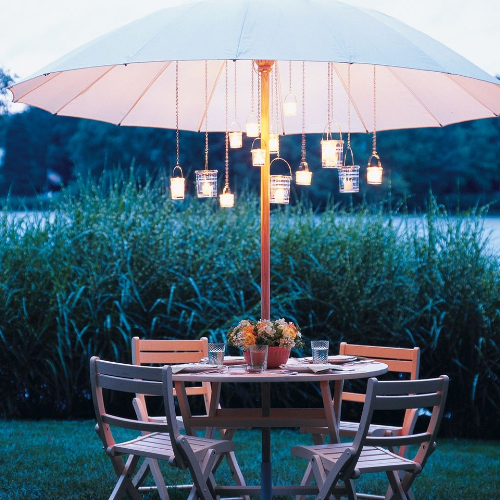 Lighted patio umbrella providing an amusing nuance homesfeed for Table jardin beauty