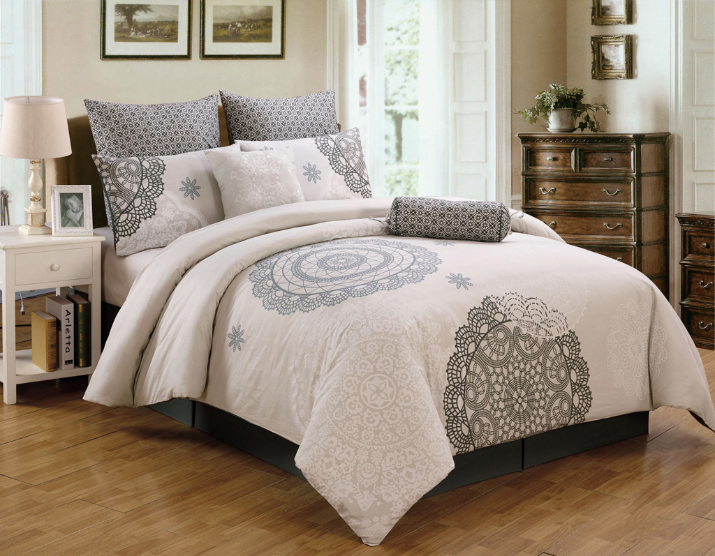 antheia california king bed comforter sets consisting of 8 pieces with charming pattern and soft color