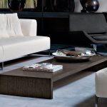 astonishing furnished wooden cool coffee table design with short leg on soft blue dyed rug before creamy sofa
