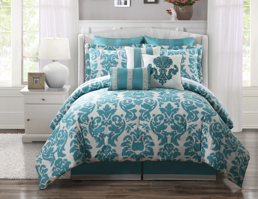 Awesome California King Bed Comforter Sets In Turquoise And White Pattern With 9 Pieces Combined