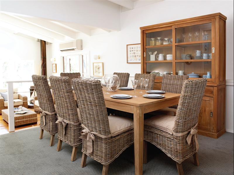 Awesome Dining Room Seat Cushions On Rattan Chairs Adorned With Ribbon Together Wooden Cabinets