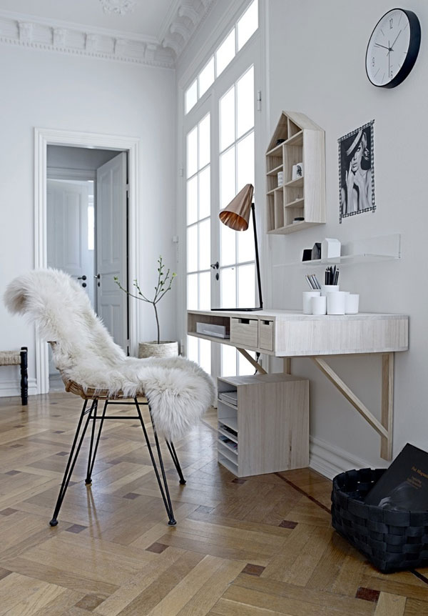 Awesome Floating Corner Desk In Wonderful Decoration With Comfy Chair  Adorned With Furry Blankets Plus Patterned