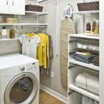 awesome laundry room shelf ideas with space saving storage and metal wall mounted shelves and metal rods underneath